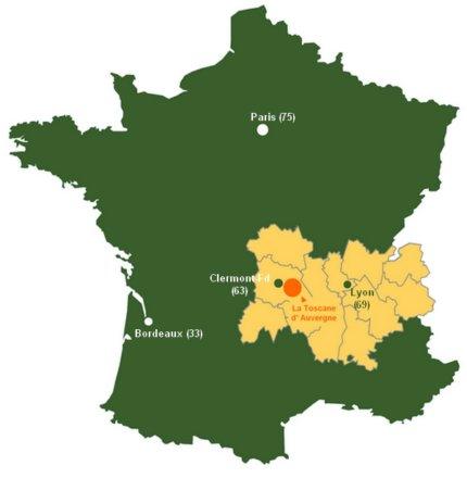 Carte de situation La Toscane d'Auvergne