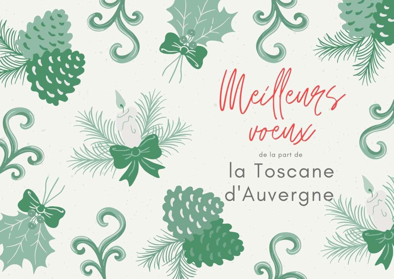 Carte Nouvel an vintage illustrée vert et crème